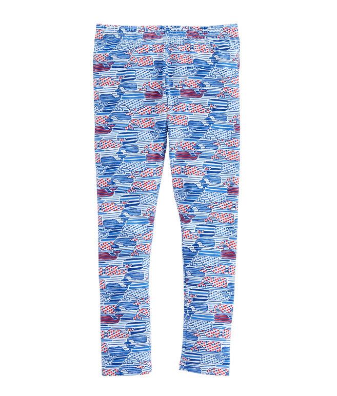 Girls Stars & Stripes Whale Leggings