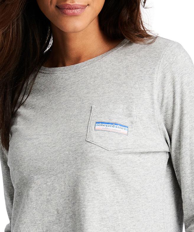 Long-Sleeve Multi Striped Logo Box Fill Pocket Tee