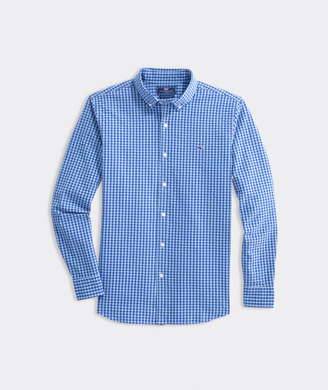 Slim Fit Seersucker Shirt in Stretch Cotton
