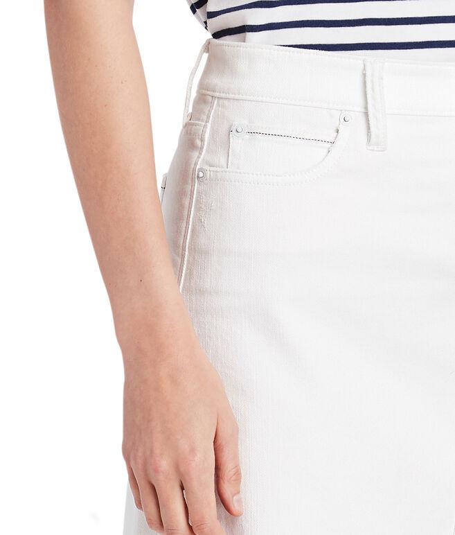 Raw Hem White Denim Skirt