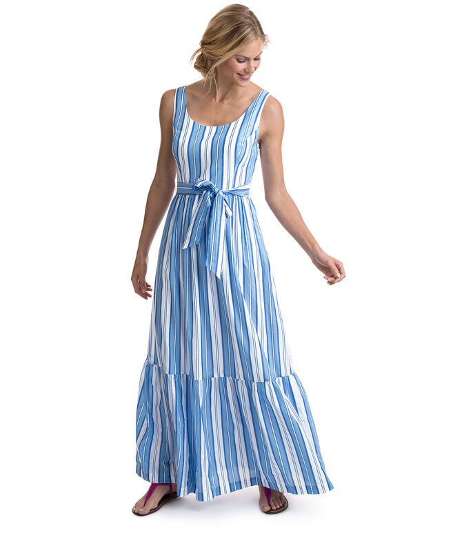 Ocean Stripe Tiered Maxi Dress
