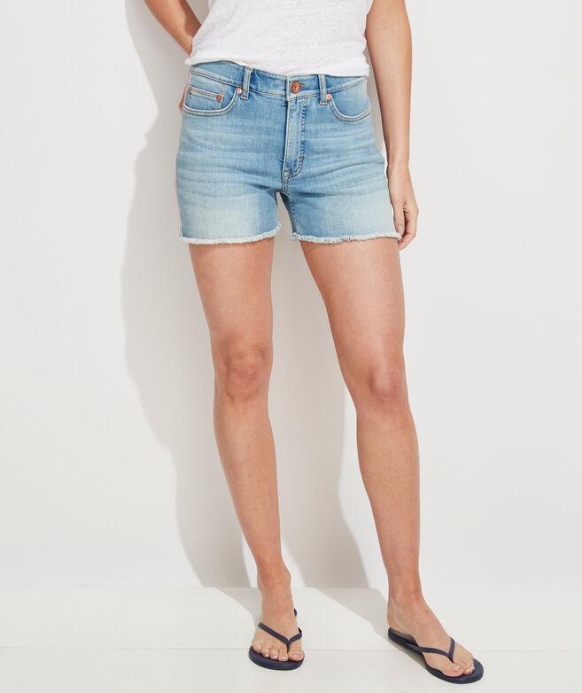 Jamie Striped Grosgrain Jean Cutoff Shorts