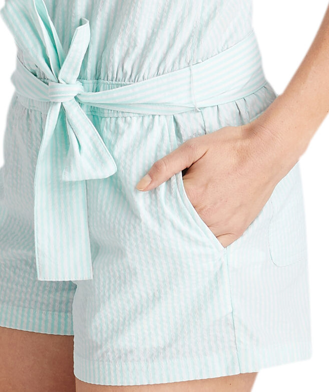 Sleeveless Vineyard Seersucker Harbor Romper
