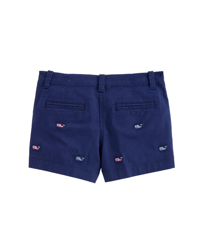 Girls Candy Cane Whale Embroidered Everyday Shorts