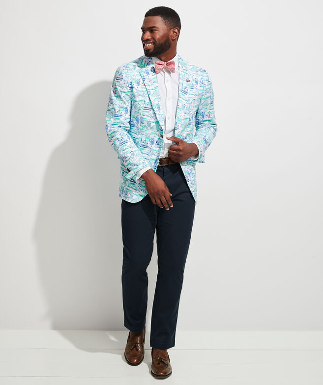 Kentucky Derby Scene Printed Blazer