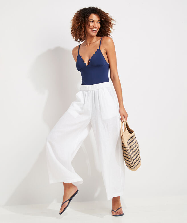 Solid Wide Leg Linen Pants