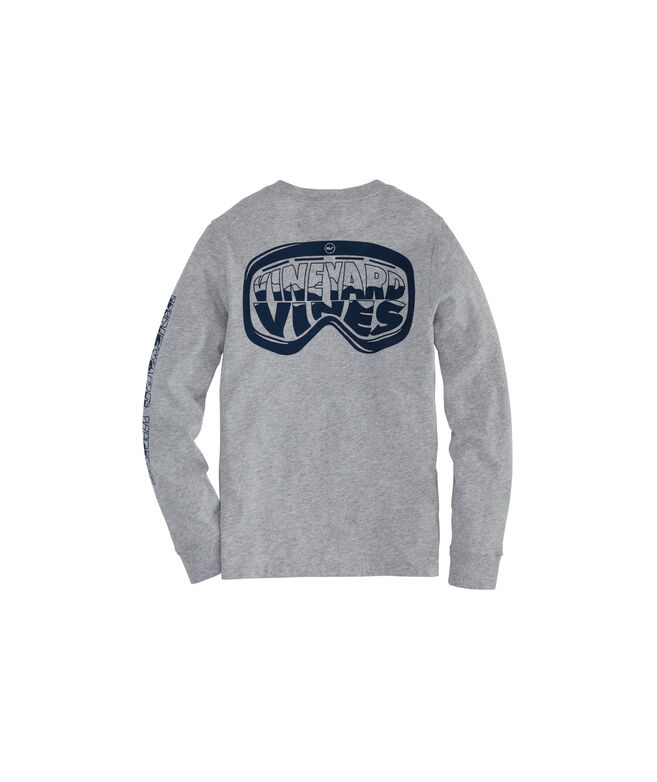 Boys' Ski Goggles Long-Sleeve Pocket Tee