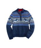 Boys Marlin Whale Pattern 1/4-Zip Sweater