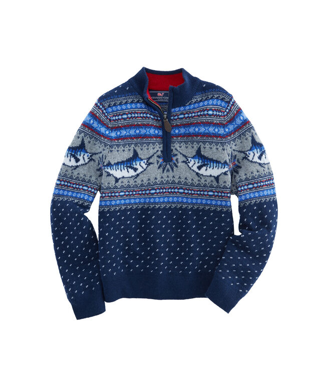 Boys Marlin Whale Pattern 1/4-Zip Sweater