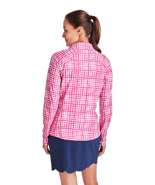 Gingham Printed 1/2-Zip