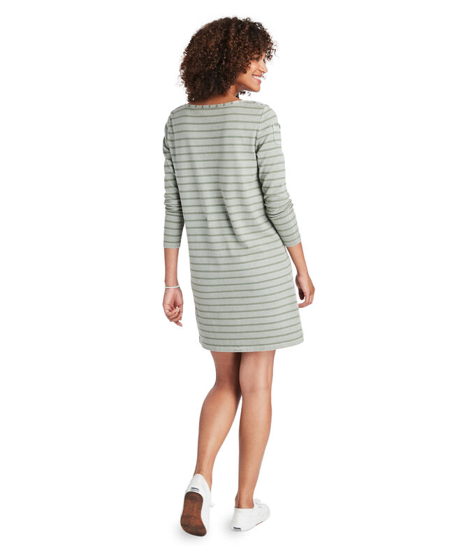 Garment-Dyed Striped Long-Sleeve Knit Dress