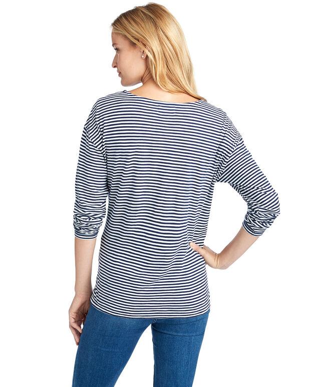Long-Sleeve EDSFTG Embroidered Stripe Tee