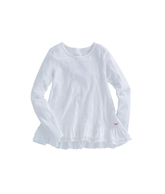 Girls Long-Sleeve Ruffle Knit Top