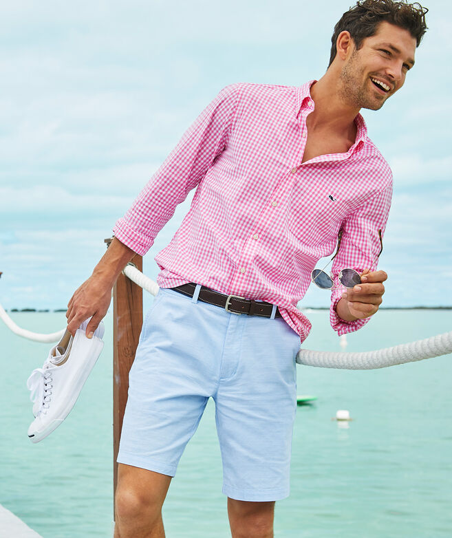 Classic Fit Gingham On-The-Go Shirt in Performance Nylon