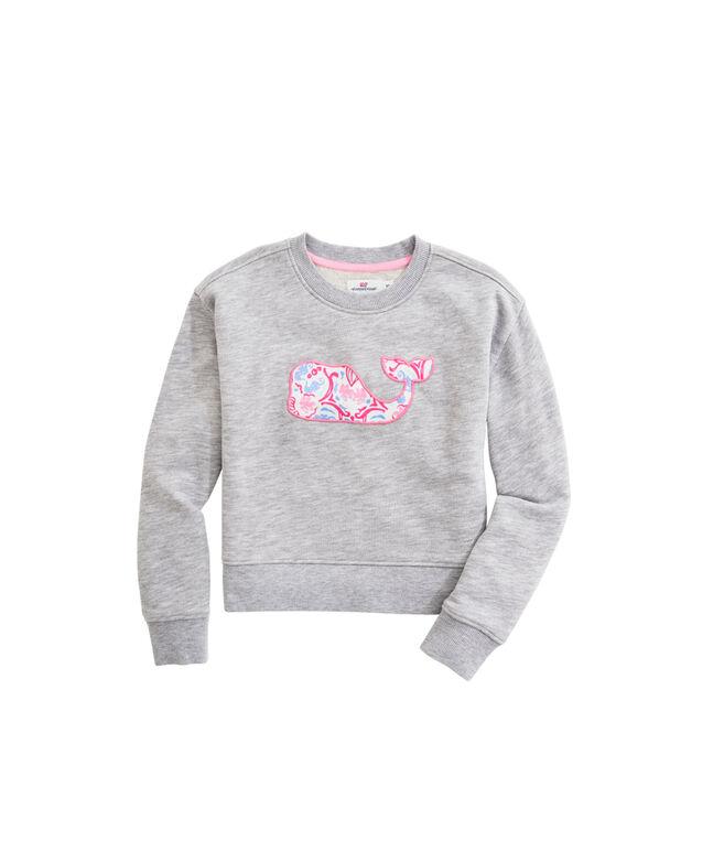 OUTLET Girls' Seahorse Medallion Applique Whale Sweatshirt