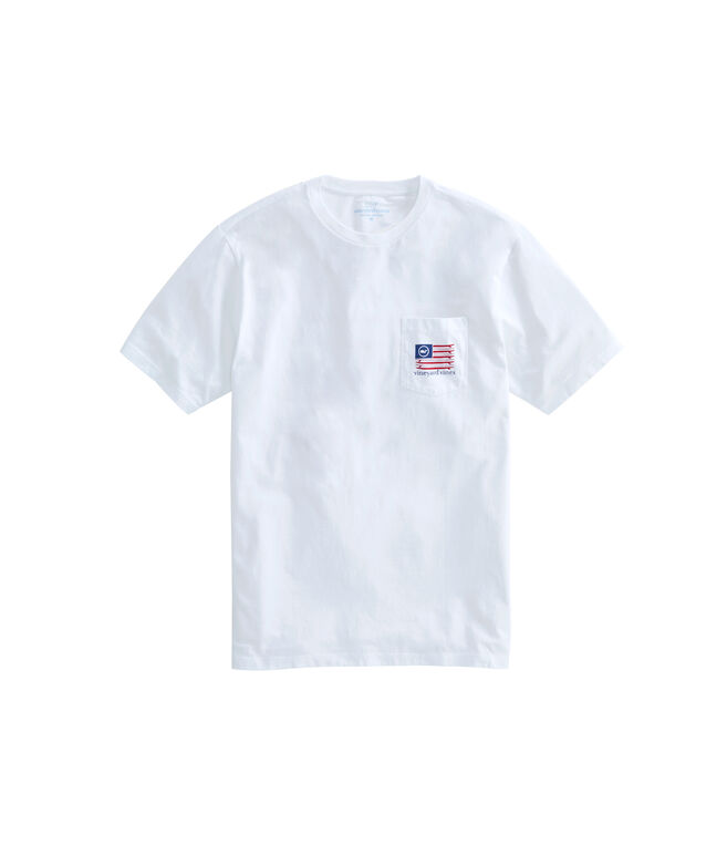American Surfboard Flag Short-Sleeve Pocket T-Shirt