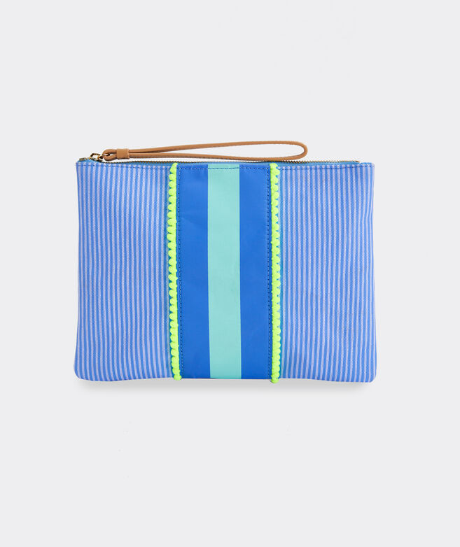 Tri-Stripe & Pom Pom Fashion Clutch