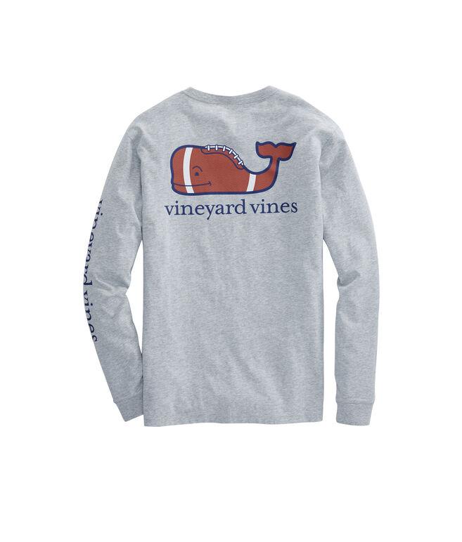 Long-Sleeve Heathered Football Whale Pocket T-Shirt