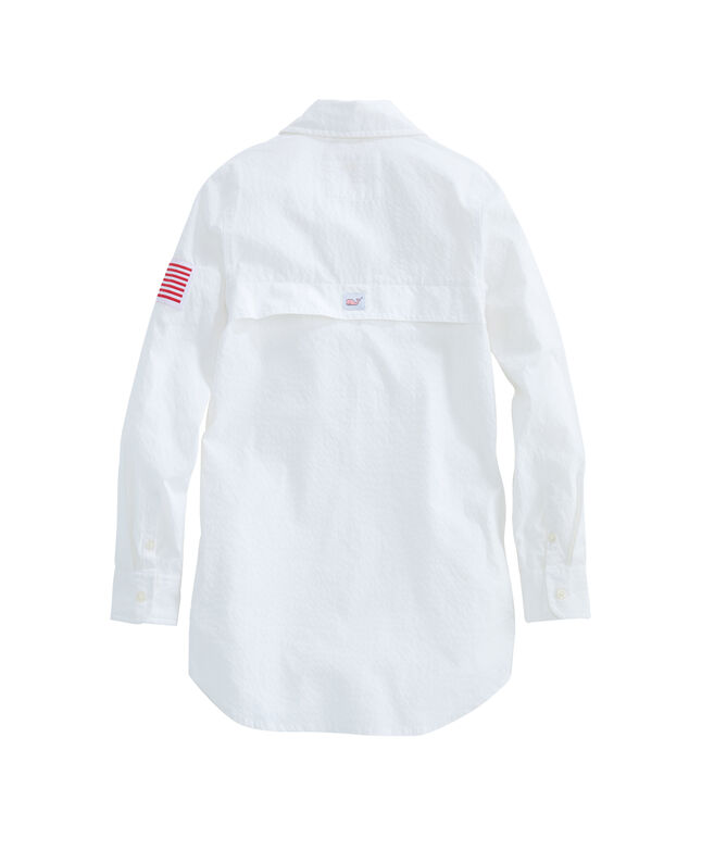 Girls Flag Patch Harbor Shirt Cover-Up