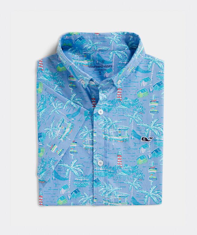Boys' Bahamas Scene Short-Sleeve Whale Button-Down Shirt