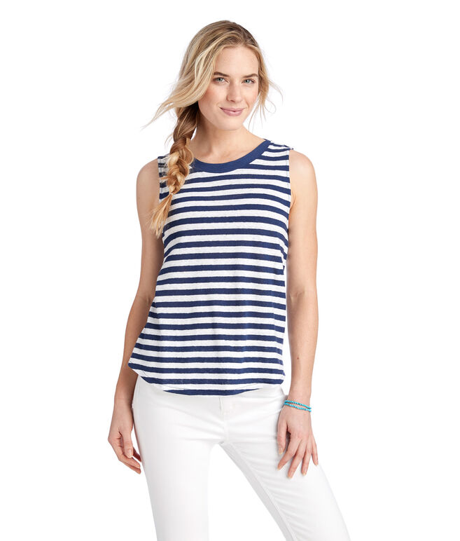 Striped Linen Blend Tank