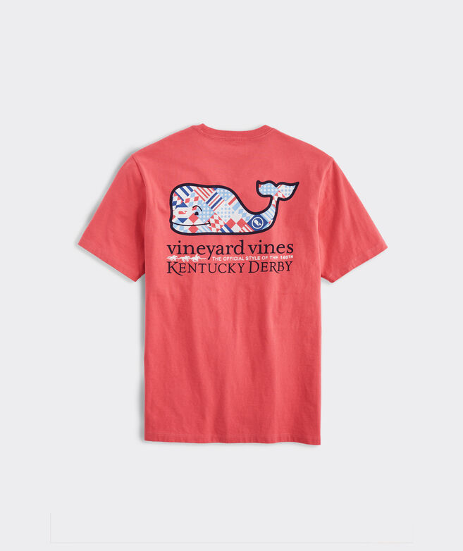 Kentucky Derby Red, White & Blue Patchwork Whale Short-Sleeve Pocket Tee