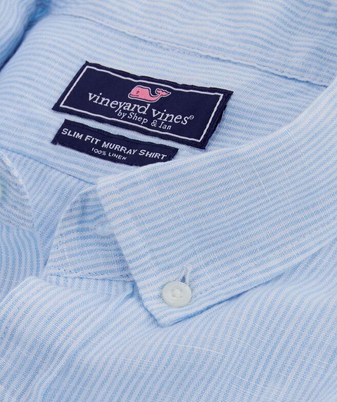Short-Sleeve Linen Striped Classic Murray Shirt