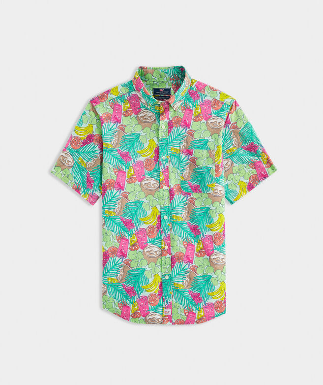 Classic Fit Tropical Print Short-Sleeve Shirt in Stretch Cotton
