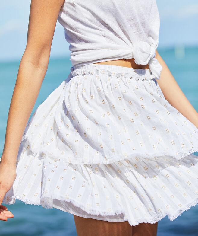Lurex Dobby Fringe Flounce Skirt