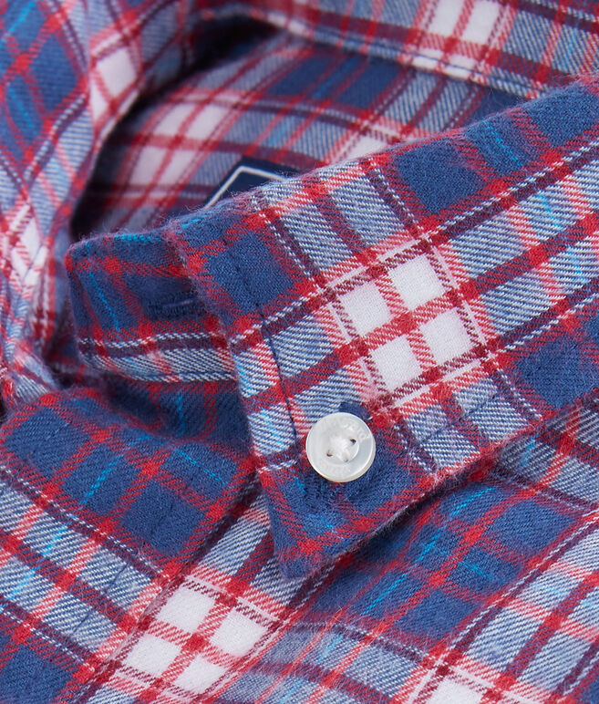 Boys Silver Peak Plaid Flannel Whale Shirt