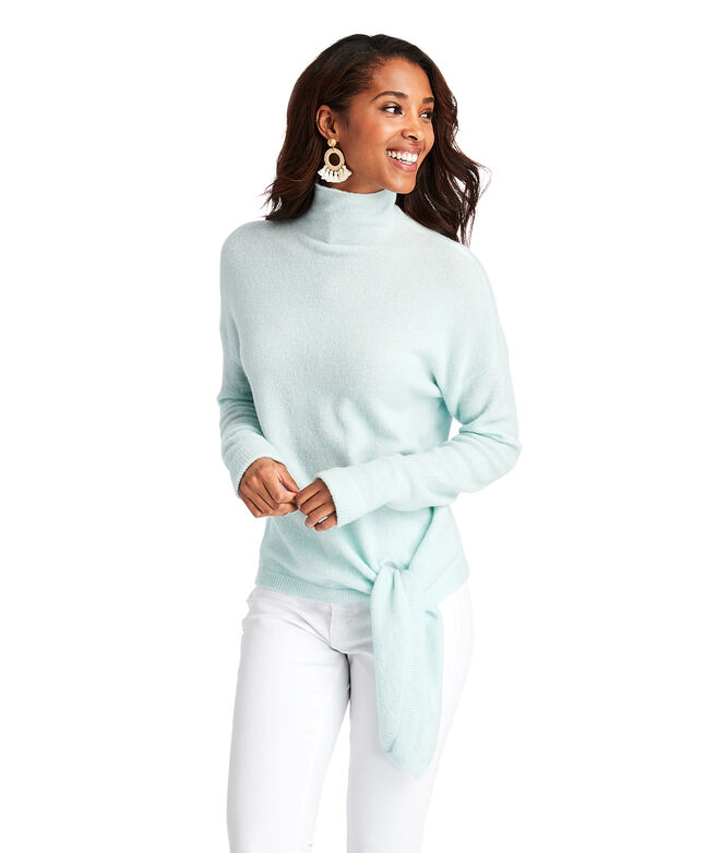 Tie Waist Mock Neck Sweater
