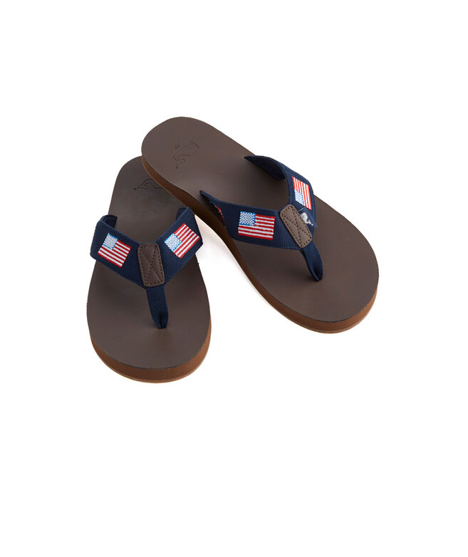 Flag Embroidred Leather Flip Flops