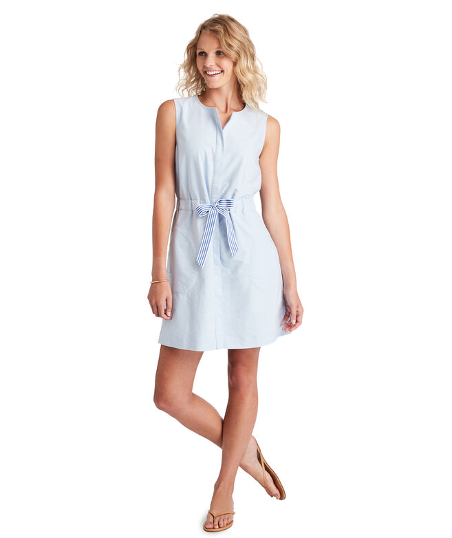Tie Waist Oxford Dress