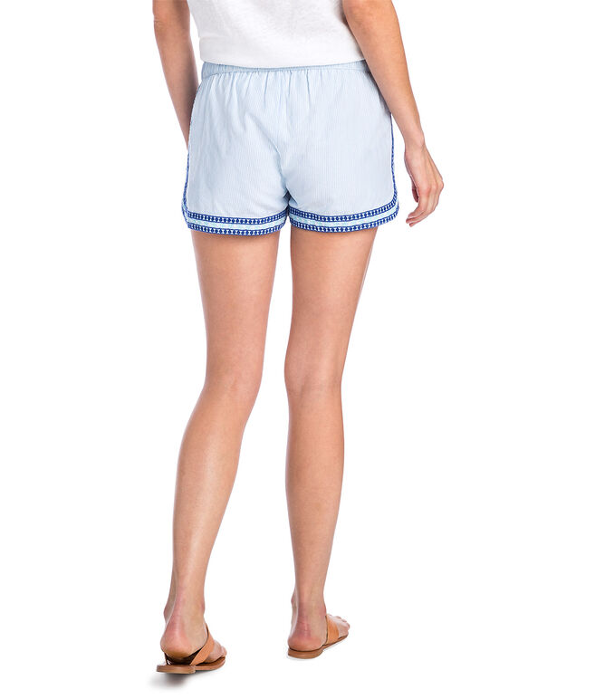 Sea Spray Stripe Embroidered Pull On Shorts