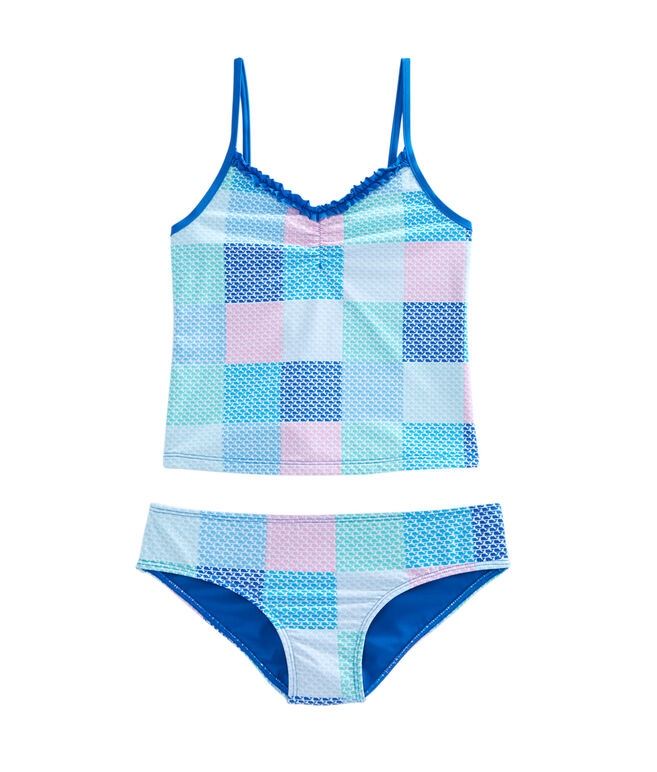 Girls Patchwork Whale Tankini
