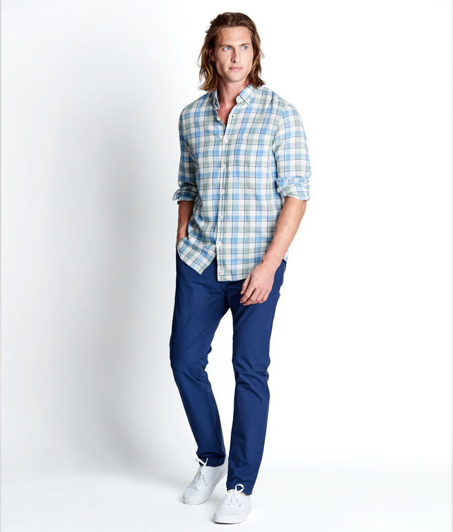 Bayside Plaid Beach Flannel Slim Tucker Shirt