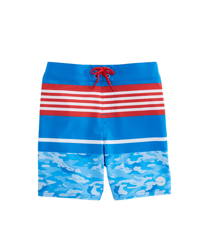 Boys Fish Camo Stripe Board Shorts