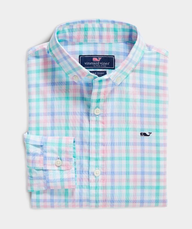Boys' Palm Beach Poplin Plaid Whale Button-Down Shirt