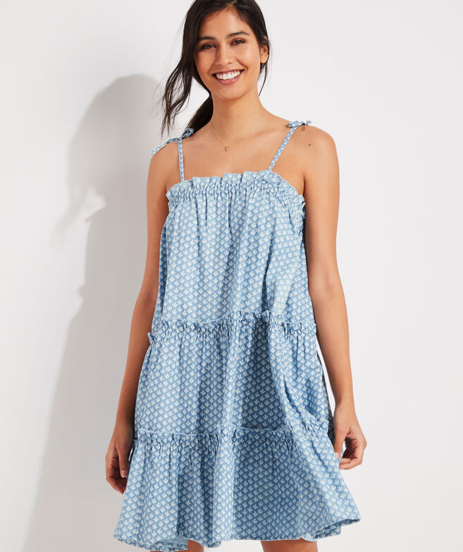 Gustavia Block Print Tiered Chambray Dress