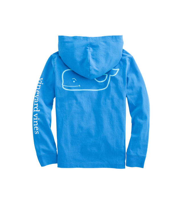 Boys Long-Sleeve Two Tone Whale Hoodie Pocket T-Shirt