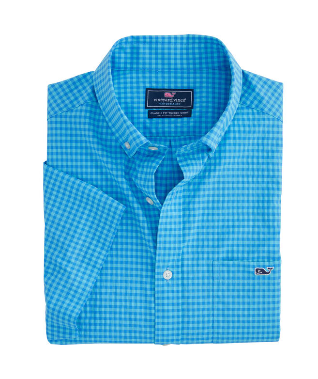 Classic Fit On-The-Go Performance Gingham Short-Sleeve Tucker Shirt