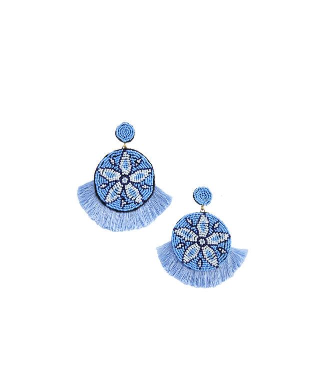 Plumeria Beaded Medallion Earrings