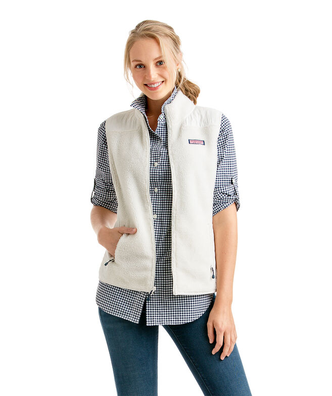Shop Solid Sea View Sherpa Vest At Vineyard Vines