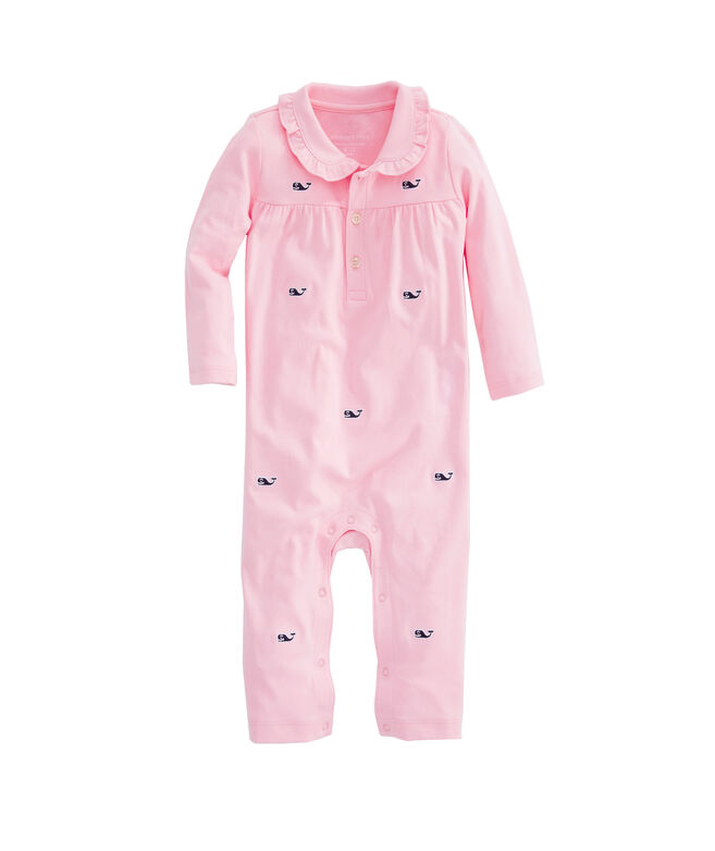 Baby Girls Embroidered Whale Coverall