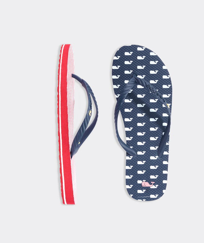 Whales & Stripes Printed Flip Flops