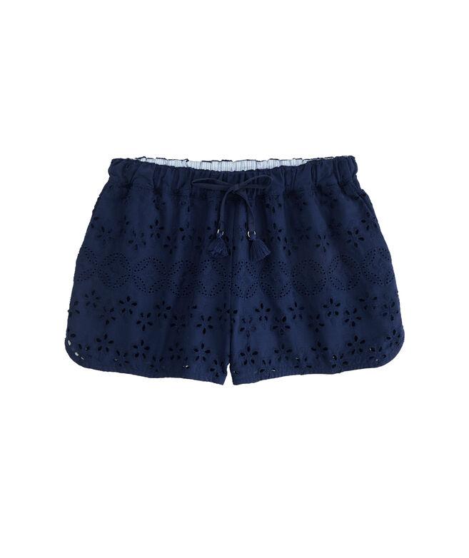 Eyelet Tassel Pull-On Shorts