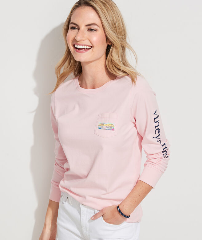 Beach Hut Long-Sleeve Pocket Tee