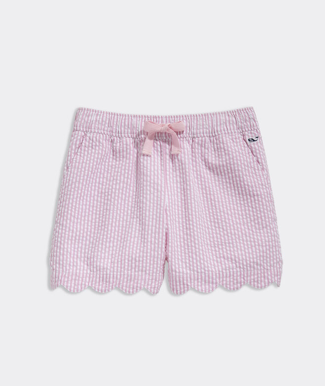 Girls' Seersucker Scallop Shorts