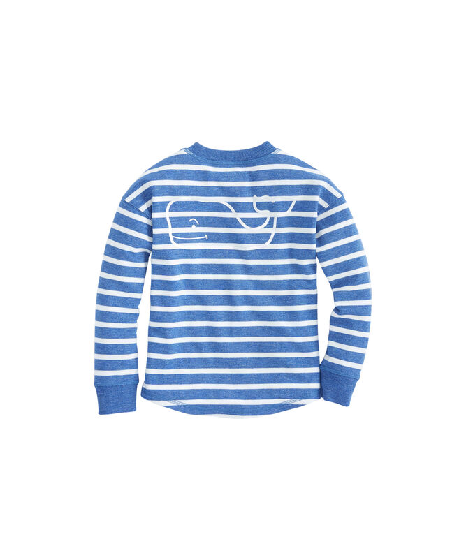 Girls Cozy Stripe Whale Pullover