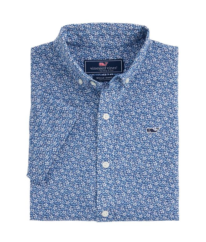 Boys Short-Sleeve Spring Floral Whale Shirt